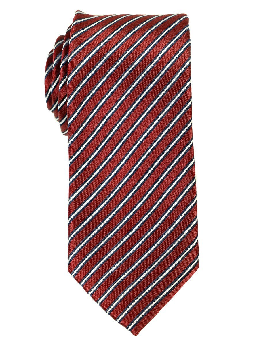 Heritage House 18169 100% Woven Silk Boy's Tie - Stripe - Red/Navy/White
