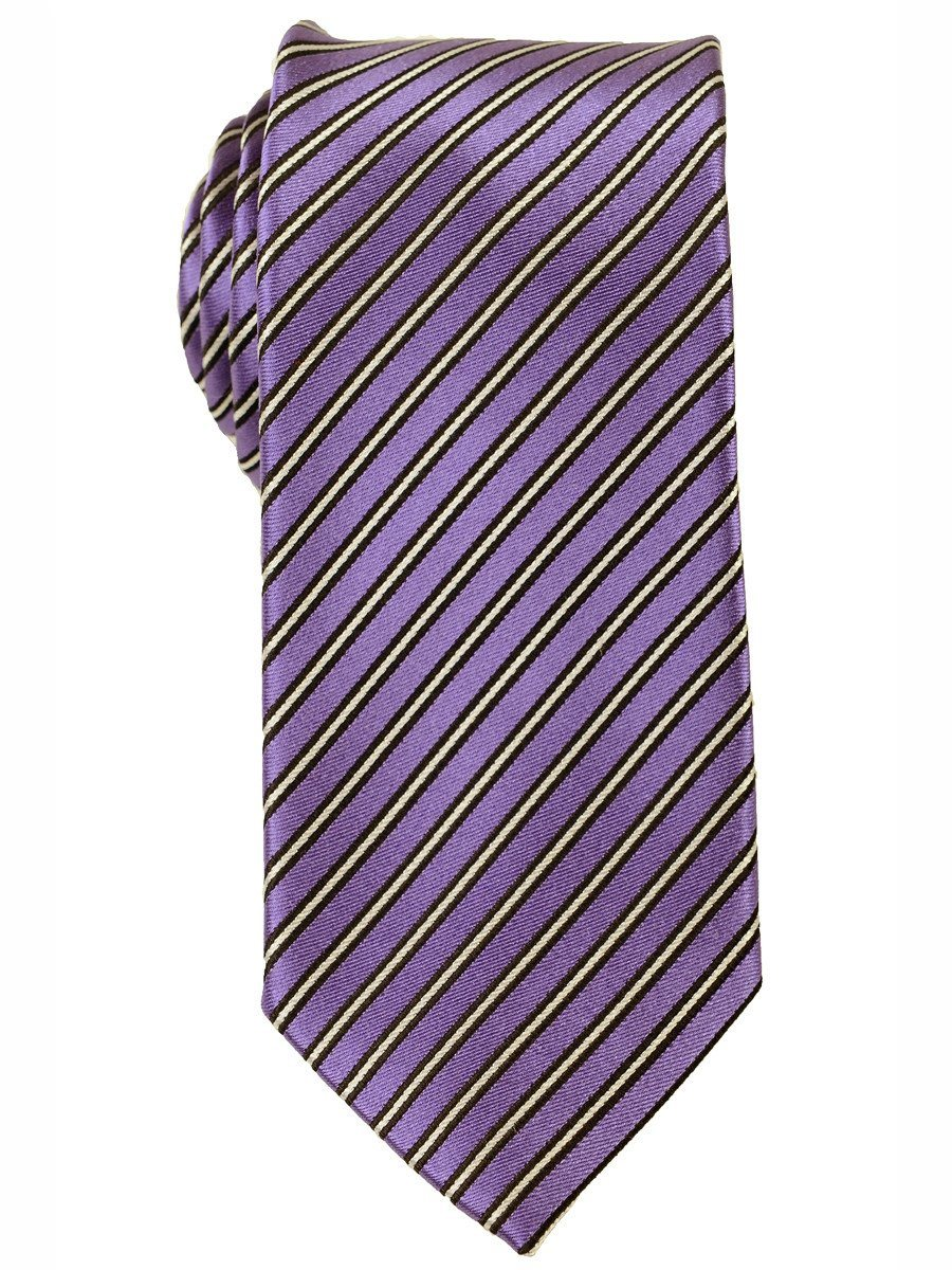 Heritage House 18173 100% Woven Silk Boy's Tie - Stripe - Purple/Black/White Boys Tie Heritage House
