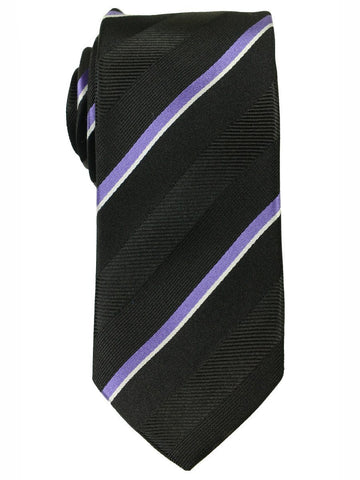 Heritage House 18179 100% Woven Silk Boy's Tie - Stripe - Black/Purple Boys Tie Heritage House