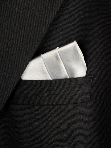 Boy's Pocket Square 18241 Silver Solid Boys Pocket Square Heritage House