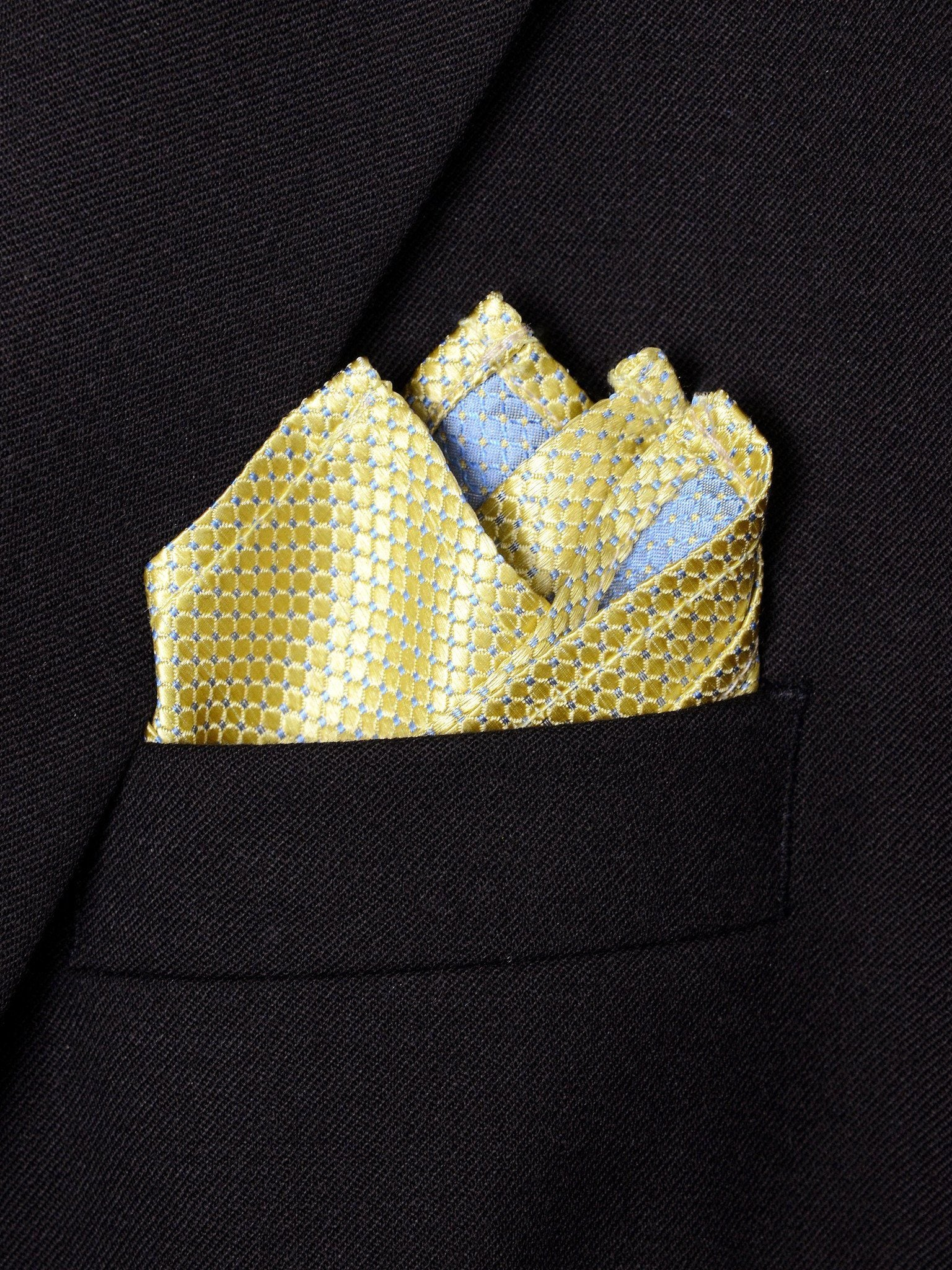Boy's Pocket Square 18244 Yellow Neat