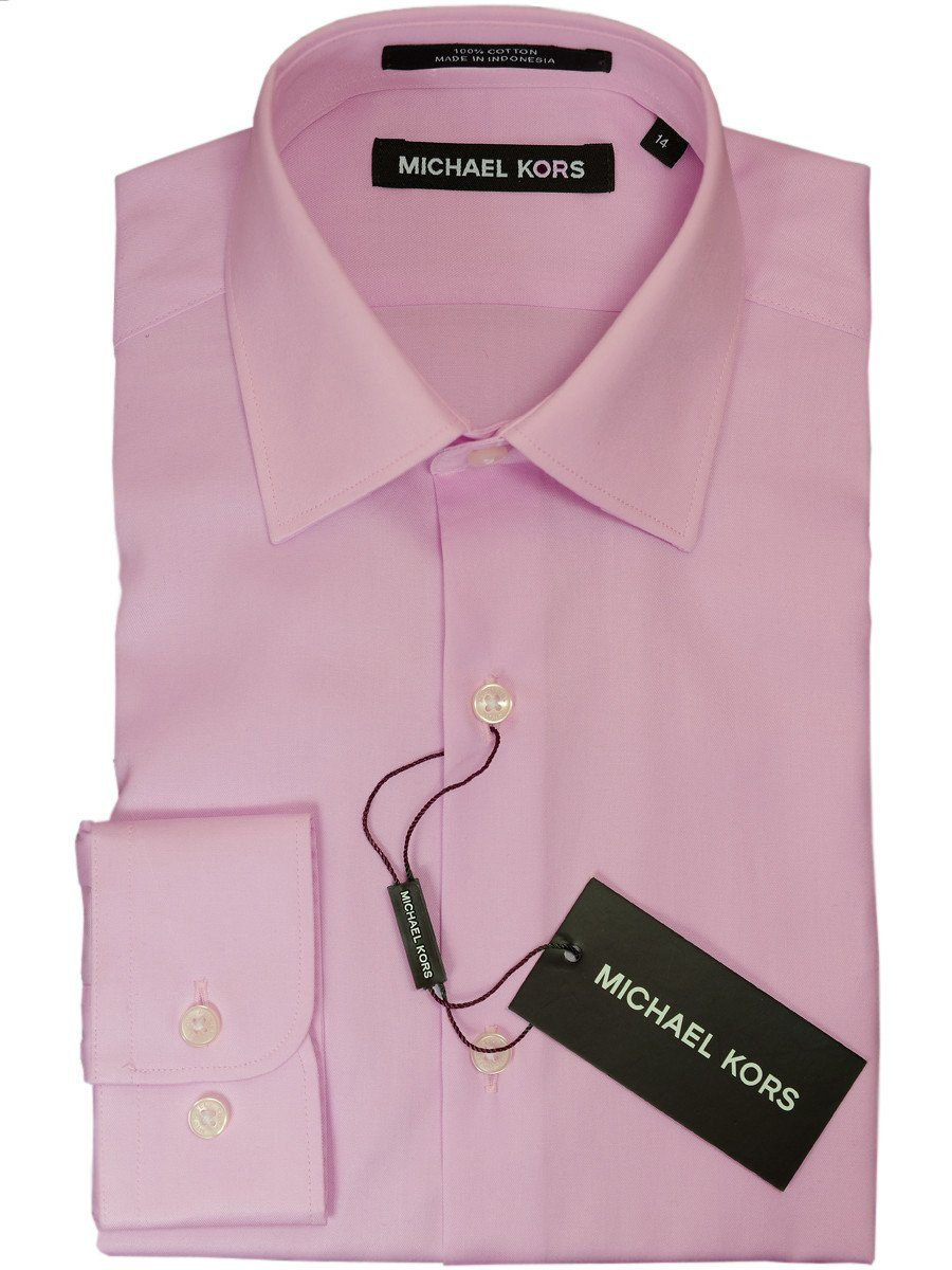 Michael Kors 18278 100% Cotton Boy's Dress Shirt - Solid Broadcloth - Rose, Long Sleeve