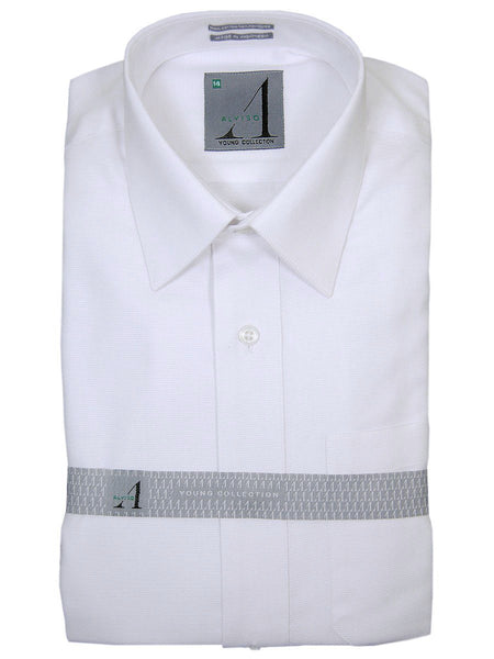 Alviso 18457 60% Cotton/40% Polyester Boy's Dress Shirt - Tonal Weave - White, Long Sleeve