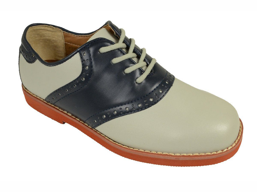 Florsheim 18621 Leather and Synthetic Boy's Lace-Up Shoes - Saddle Shoe - Bone/Navy, Breathable Moisture Wicking Suedetech Lining Boys Shoes Florsheim