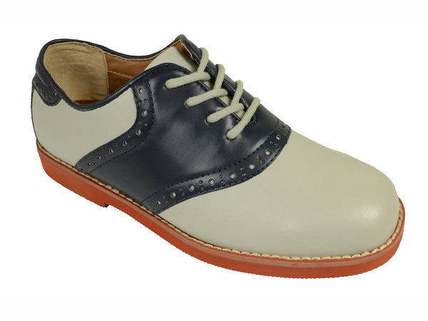 Florsheim 18621 Leather and Synthetic Upper Boy's Lace-Up Shoes - Saddle Shoe - Bone/Navy, Breathable Moisture Wicking Suedetech Lining