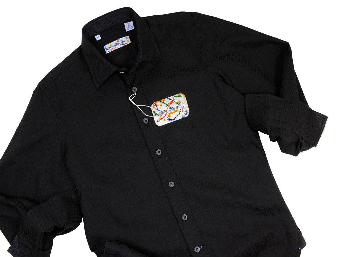 Brandolini 18654 100% Cotton Boy's Sport Shirt - Jacquard - Black, Modified Spread Collar