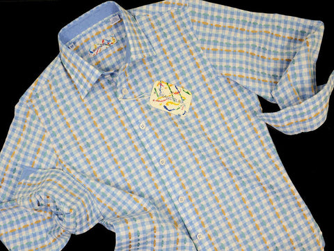 Brandolini 18670 100% Cotton Boy's Sport Shirt - Dobby Checks - Blue/Green/Orange, Modified Spread Collar Boys Sport Shirt Brandolini