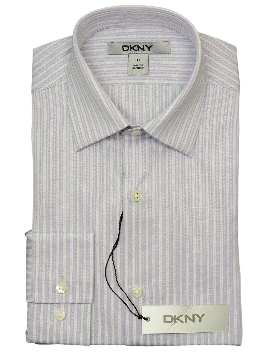 DKNY 18684 100% Cotton Boy's Dress Shirt - Stripe - Pink, Long Sleeve