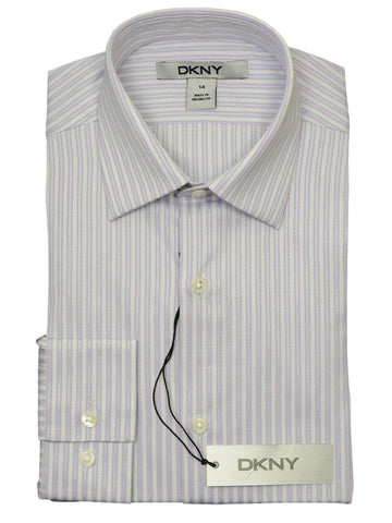 DKNY 18684 100% Cotton Boy's Dress Shirt - Stripe - Pink, Long Sleeve Boys Dress Shirt DKNY