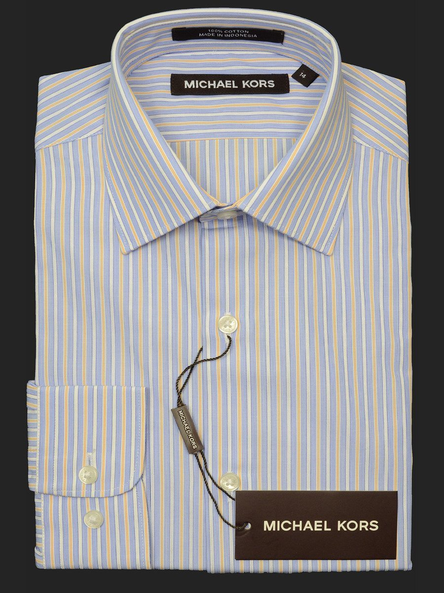 Michael Kors 18712 100% Cotton Boy's Dress Shirt - Stripe - Blue, Modified Spread Collar Boys Dress Shirt Michael Kors