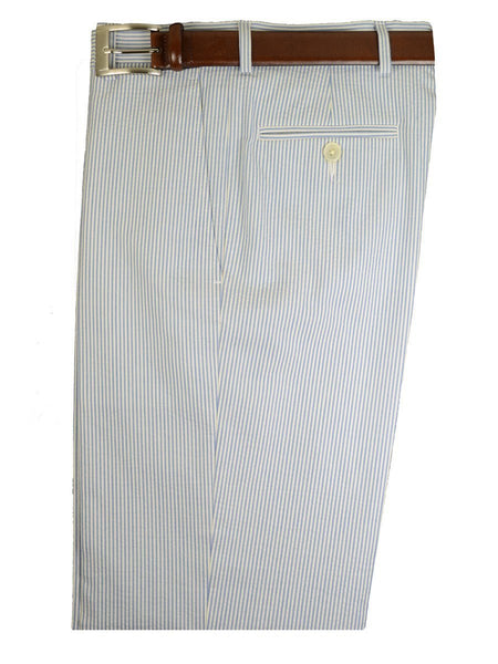 Lauren Ralph Lauren 18719P 100% Cotton Boy's Suit Separate Pant - Seersucker Stripe -Blue/White, Plain Front