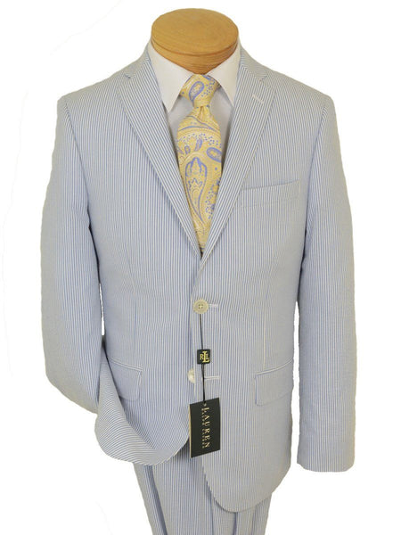 Lauren Ralph Lauren 18719 100% Cotton Boy's Suit Separate Jacket - Seersucker Stripe - Blue/White, 2-Button Single Breasted