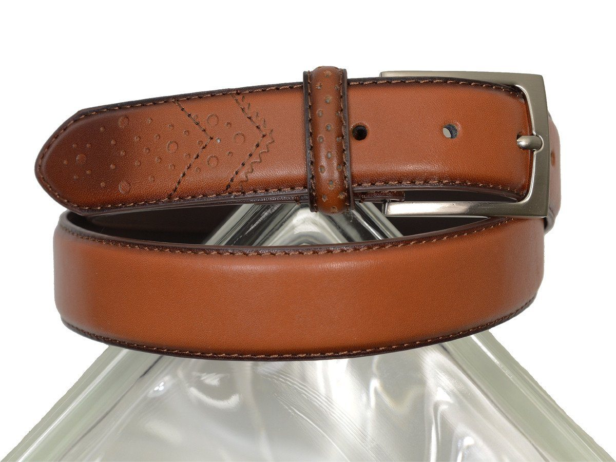 Florsheim 18730 100% Genuine Leather Boy's Belt - Full Grain With Wing Tip Tail - Saddle Tan