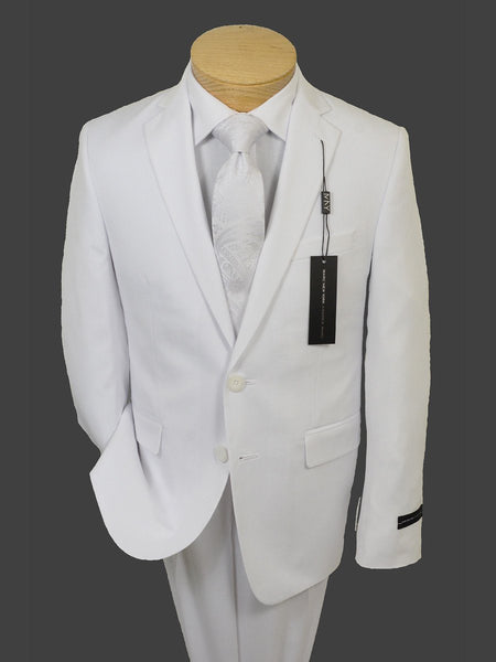 Boys Suit by Andrew Marc in White Featured with Boys Shirt & Tie in White