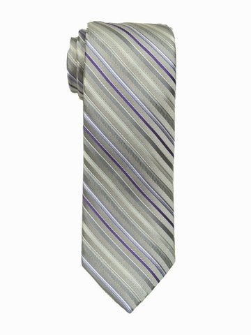 Heritage House 18877 100% Woven Silk Boy's Tie - Stripe - Silver/Purple Boys Tie Heritage House