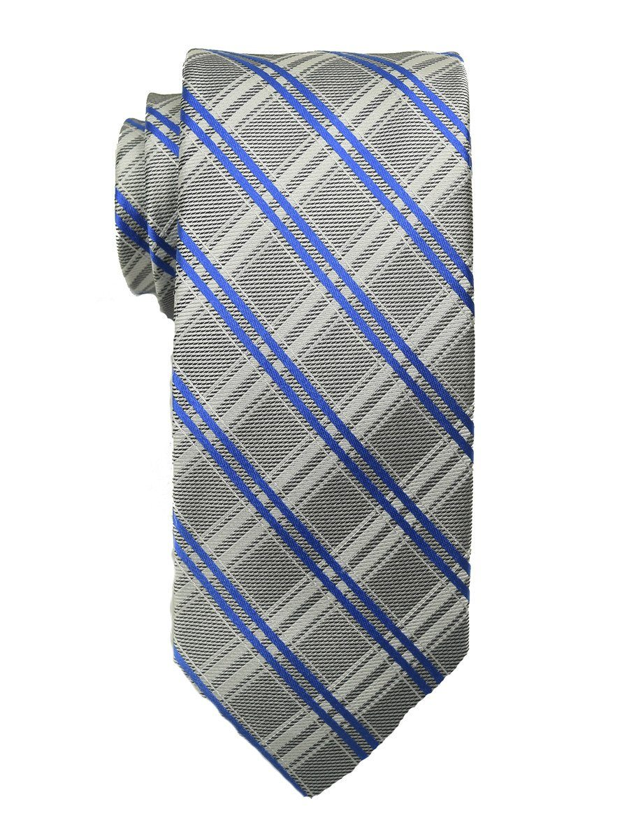 Heritage House 18897 100% Woven Silk Boy's Tie - Plaid - Silver/Blue