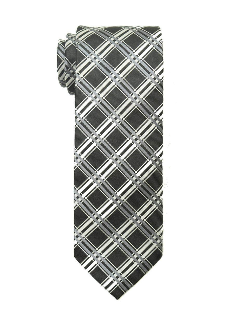 Heritage House 18903 100% Woven Silk Boy's Tie - Plaid - Black/Silver