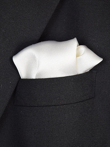 Boy's Pocket Square 18941 White Solid Boys Pocket Square Heritage House