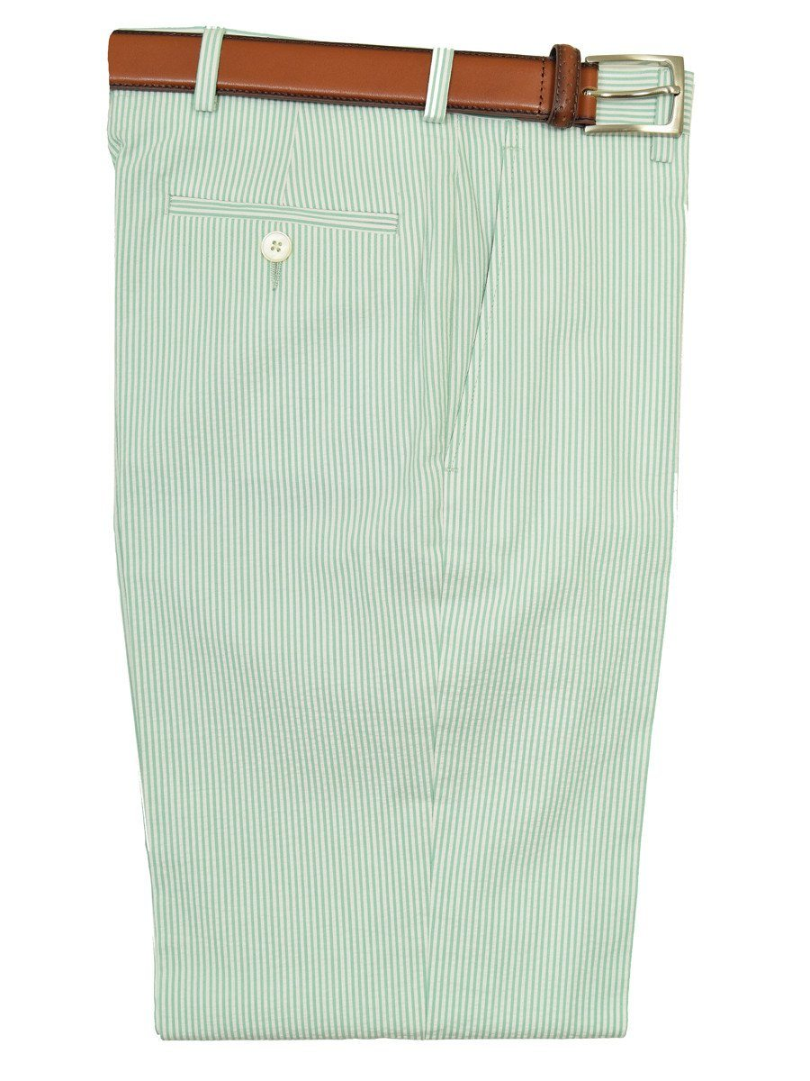 Lauren Ralph Lauren 18949P 100% Cotton Boy's Suit Separate Pant  - Seersucker Stripe - Green/White, Plain Front
