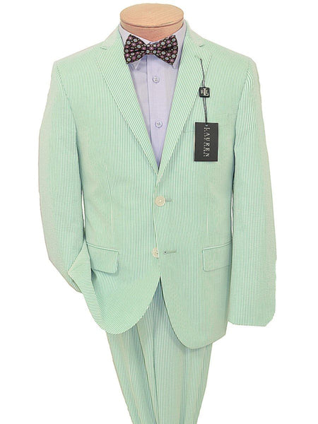 Lauren Ralph Lauren 18949 100% Cotton Boy's Suit Separate Jacket - Seersucker Stripe - Green/White, 2-Button Single Breasted