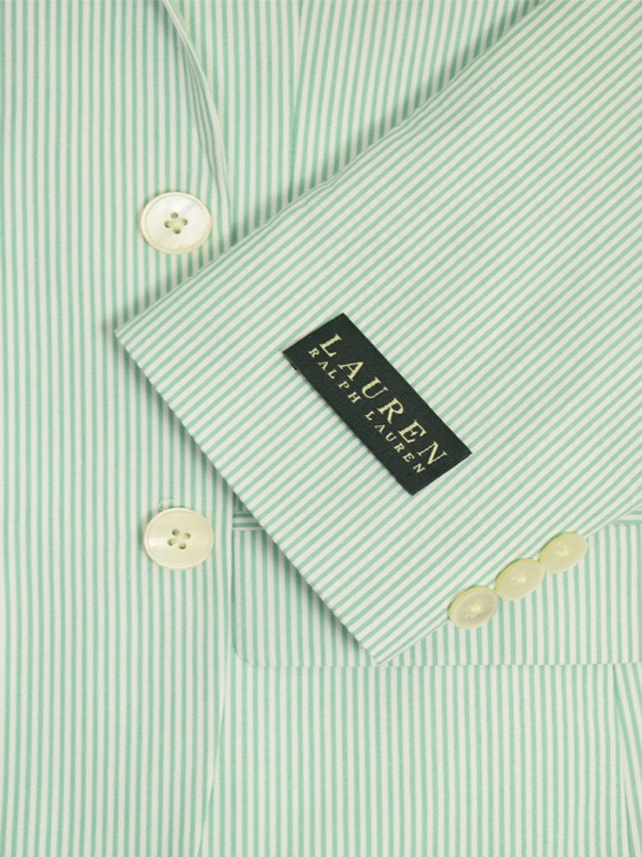 Lauren Ralph Lauren 18949 100% Cotton Boy's Suit Separate Jacket - Seersucker Stripe - Green/White, 2-Button Single Breasted Boys Suit Separate Jacket Lauren