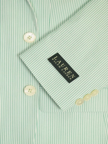 Image of Lauren Ralph Lauren 18949 100% Cotton Boy's Suit Separate Jacket - Seersucker Stripe - Green/White, 2-Button Single Breasted Boys Suit Separate Jacket Lauren