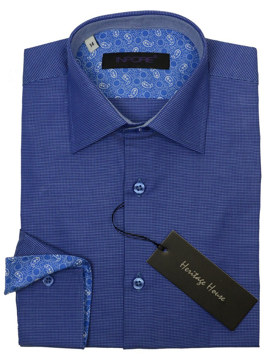 Inpore Boy's Dress Shirt 18970 Blue Weave