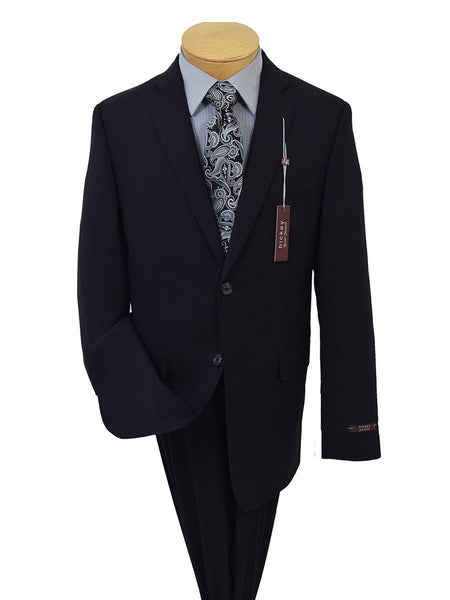 Hickey Freeman 19047 98% Wool / 2% Elastane Boy's 2-Piece Suit - Solid Black- 2-Button Single Breasted Jacket, Plain Front Pant