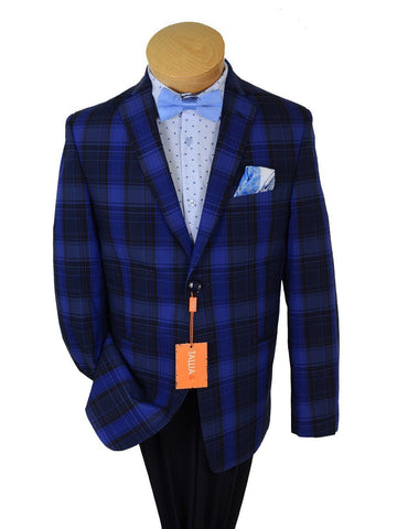 Image of Tallia Orange 19053 100% Cotton Boy's Sport Coat - Plaid- Blue, 2-Button Single Breasted Boys Sport Coat Tallia