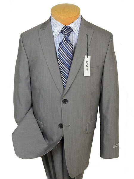 DKNY 19074 100% Wool Boy's 2-Piece Suit - Sharkskin - 2-Button Single Breasted Jacket, Plain Front Pant
