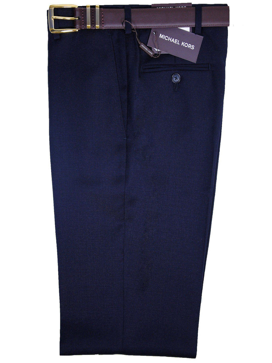 Michael Kors 1909 100% Tropical Worsted Wool Boy's Pant - Solid Gabardine - Navy, Plain Front Boys Dress Pant Michael Kors