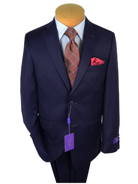 Tallia Purple 19108 65% Wool/ 35% Polyester Boy's 2-Piece Suit - Tonal Stripe  - Navy, 2-Button Single Breasted Jacket, Plain Front Pant