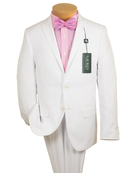 Lauren Ralph Lauren 19160 100% Polyester Boy's Suit Separate Jacket - Seersucker Tonal Stripe - White, 2-Button Single Breasted
