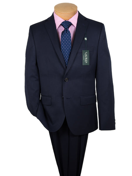 Lauren Ralph Lauren 19174 65% Polyester/ 35% Rayon Boy's Suit Separate Jacket - Solid - Navy, 2-Button Single Breasted