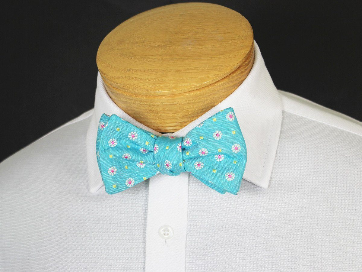 Boy's Bow Tie 19247 Teal/Pink/Yellow Neat