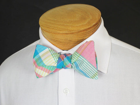 Boy's Bow Tie 19248 Pink/Multicolor Plaid Boys Bow Tie High Cotton