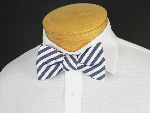 Boy's Bow Tie 19249 Navy/White Stripe Boys Bow Tie High Cotton