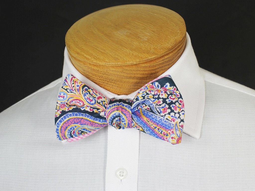 Boy's Reversible Bow Tie 19250 Navy/Pink/Yellow Paisley/Gingham Boys Bow Tie High Cotton