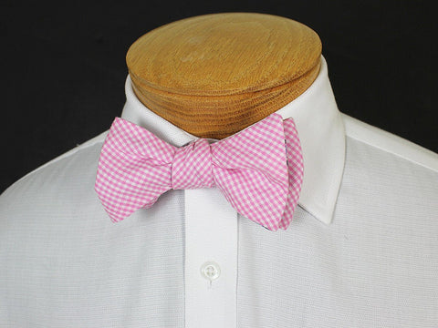 Image of Boy's Reversible Bow Tie 19250 Navy/Pink/Yellow Paisley/Gingham Boys Bow Tie High Cotton