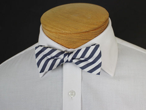 Boy's Bow Tie 19253 Navy/White Stripe Boys Bow Tie High Cotton