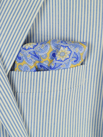 Boy's Pocket Square 19254 Yellow/Blue Paisley Boys Pocket Square High Cotton