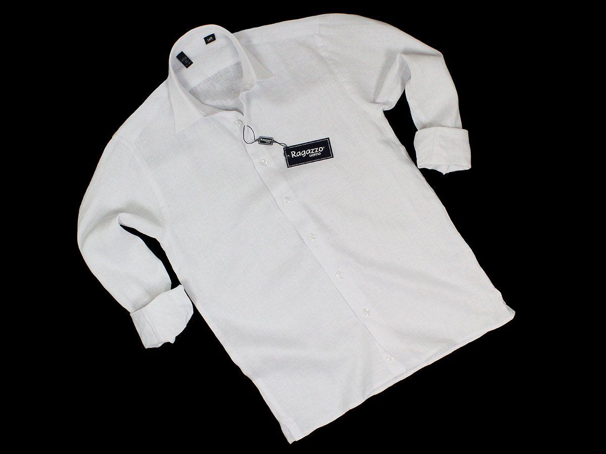 Ragazzo 19272 100% Linen Boy's Sport Shirt - Linen - White, Long Sleeve