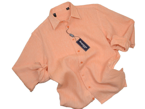 Ragazzo 19283 100% Linen Boy's Sport Shirt - Linen - Melon, Long Sleeve