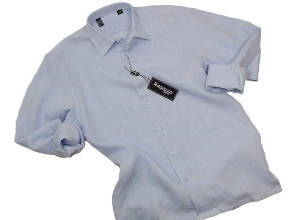 Ragazzo 19296 100% Linen Boy's Sport Shirt - Linen - Sky Blue, Long Sleeve