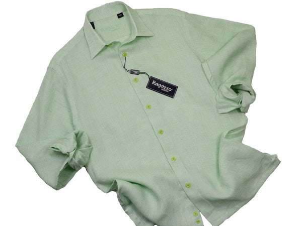 Ragazzo 19308 100% Linen Boy's Sport Shirt - Linen - Mint Green, Long Sleeve