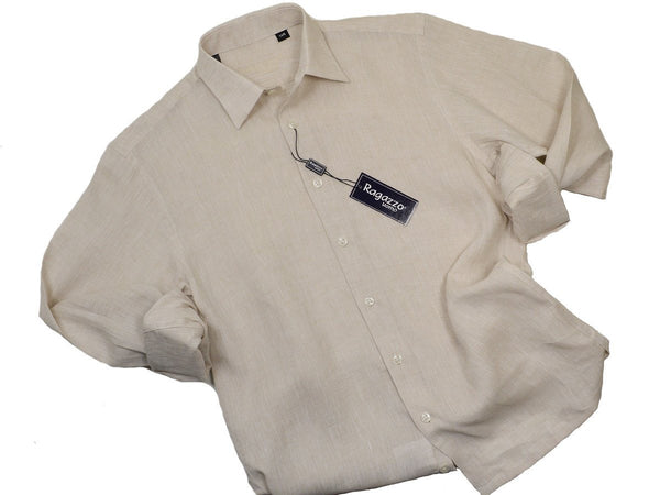 Ragazzo 19320 100% Linen Boy's Sport Shirt - Linen - Wheat, Long Sleeve