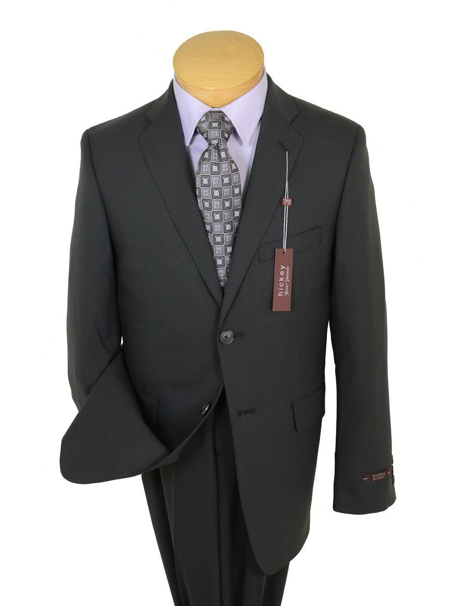 Hickey Freeman 19342 98% Wool / 2% Elastane Boy's 2-Piece Suit - Solid Gray- 2-Button Single Breasted Jacket, Plain Front Pant