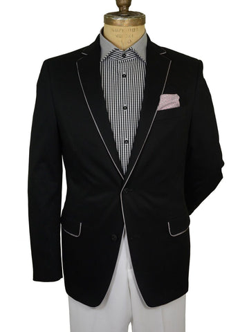 Image of Tallia 19364 100% Cotton Young Men's Sportcoat - Solid - Black Young Men's Sportcoat Tallia