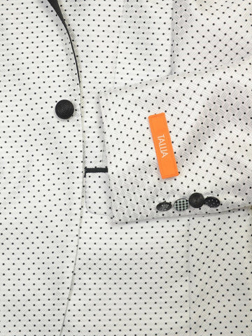 Image of Tallia 19382 100% Polyester Microfiber Boy's Sport Coat - Dot - White Young Men's Sportcoat Tallia