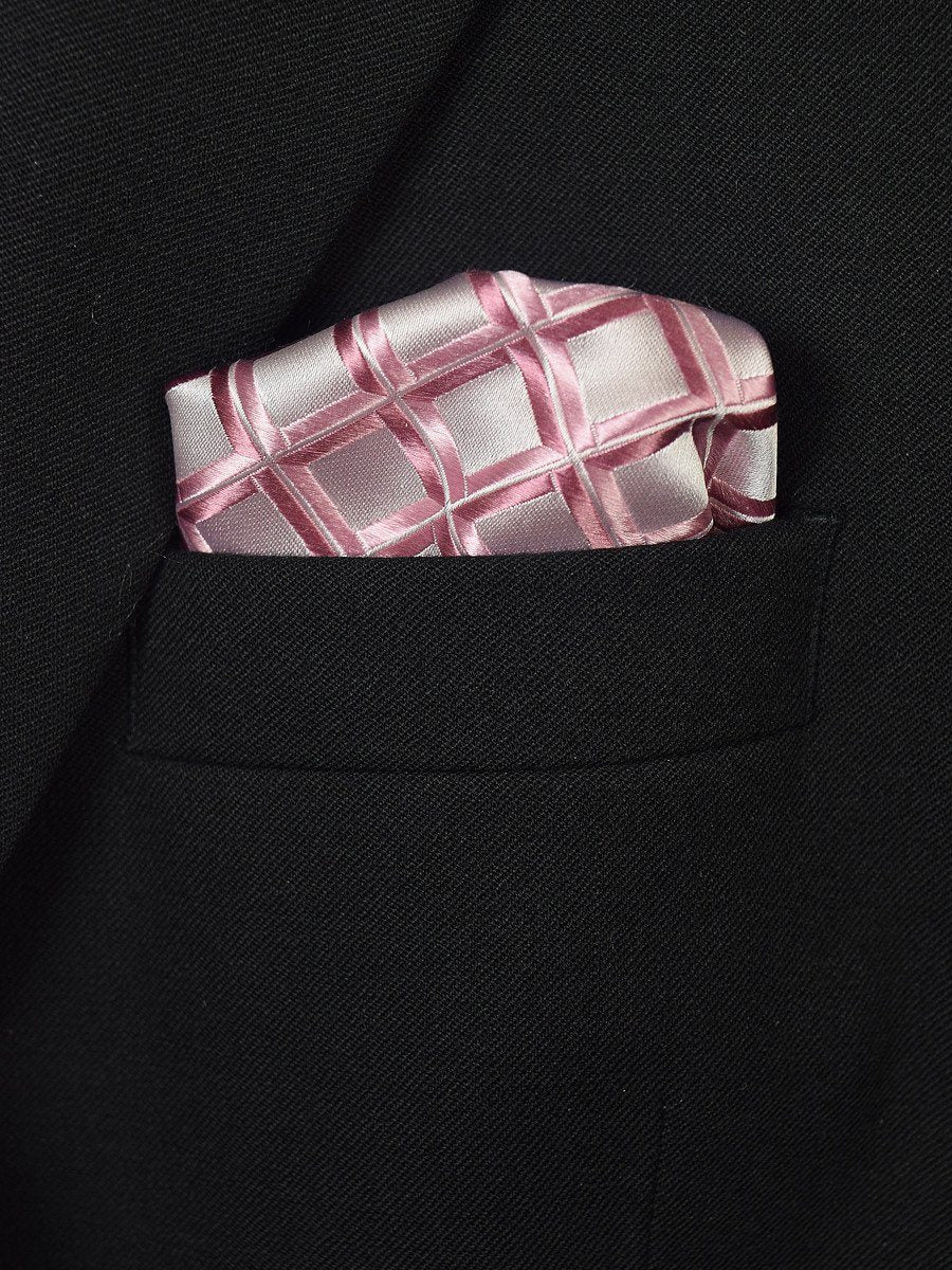 Boy's Pocket Square 19402 Pink/Silver Neat
